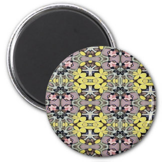 Artistic Pastel Yellow Dusty Rose Abstract Pattern Magnet