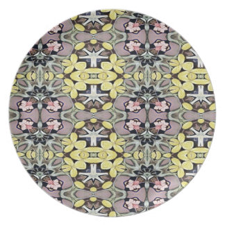 Artistic Pastel Yellow Dusty Rose Abstract Pattern Plate