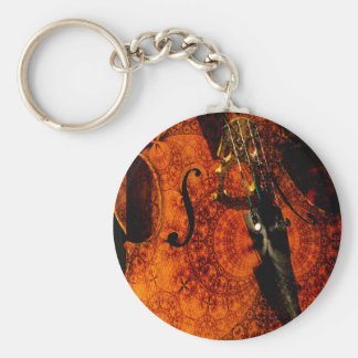 Artistic patterned cello design key ring