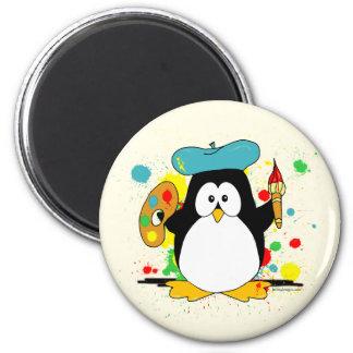 Artistic Penguin 6 Cm Round Magnet