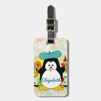 Artistic Penguin Painter Personalize Bag Tag