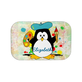 Artistic Penguin Painter Personalize Lunch Boxes