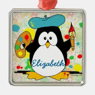 Artistic Penguin Painter Personalize Metal Ornament