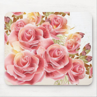 Artistic Pink Roses Mouse Pad