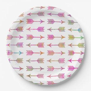 Artistic Pink Teal Watercolor Arrows Pattern Paper Plate