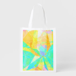 Artistic Polygon Painting Abstract Background Art Reusable Grocery Bag