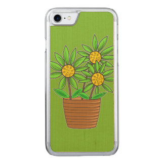 Artistic Potted Sunflower Carved iPhone 7 Case