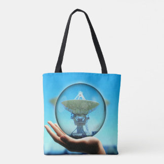 Artistic Radiotelescope Searching For Aliens Tote Bag