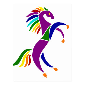Artistic Rearing Horse Art Abstract Postcard