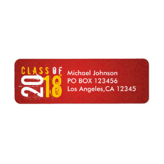 Artistic Red and Yellow Class of 2018 Return Address Label