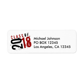 Artistic Red, Black and White Class of 2018 Return Address Label