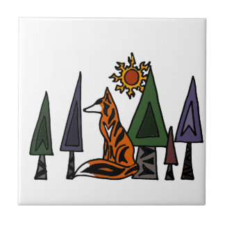 Artistic Red Fox in the Forest Art Tile