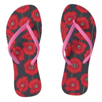 Artistic Red Tullips Flowers Black FlipFlops Thongs