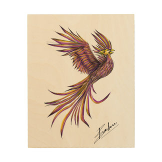Artistic Rendering of a Phoenix on Wooden Panel