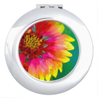 Artistic rendition of Indian Blanket flower Travel Mirror