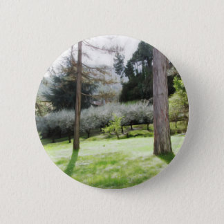 Artistic representation of tuscan countryside 6 cm round badge