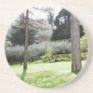 Artistic representation of tuscan countryside coaster