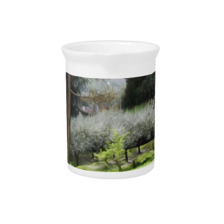 Artistic representation of tuscan countryside pitcher