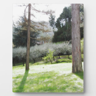 Artistic representation of tuscan countryside plaque
