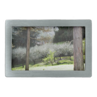 Artistic representation of tuscan countryside rectangular belt buckles