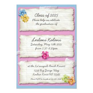Artistic ripped paper hibiscus graduation invites