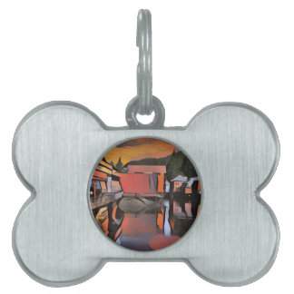 Artistic River Through Town Water Reflection Pet Name Tag