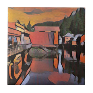 Artistic River Through Town Water Reflection Small Square Tile