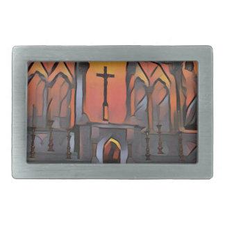 Artistic Sanctuary Cross Inspirational Quote Rectangular Belt Buckle