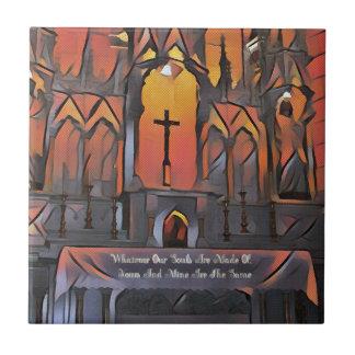 Artistic Sanctuary Cross Inspirational Quote Small Square Tile