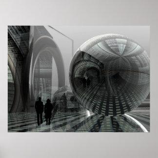 """Artistic sci-fi poster """"Walking in an alien world"""""""