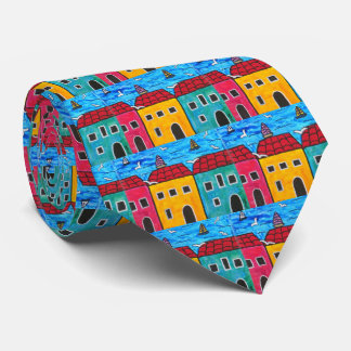 Artistic Seaside Villas, Ocean, Colorful Cottages Tie