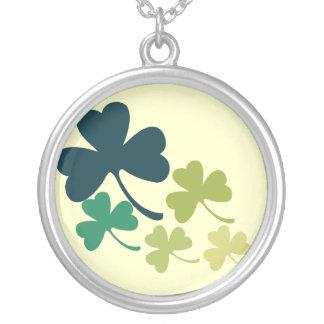 Artistic Shamrocks Round Pendant Necklace