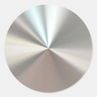 Artistic silver metal round sticker