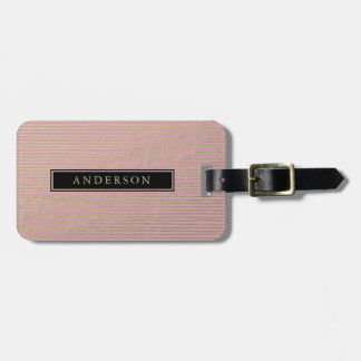 ARTISTIC SILVER PINK SKETCH STRIPED LINE PATTERN LUGGAGE TAG