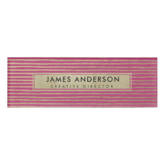 ARTISTIC SILVER PINK SKETCH STRIPED LINE PATTERN NAME TAG
