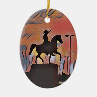 Artistic Soldier On Horse Sillouete Sunset. Ceramic Ornament