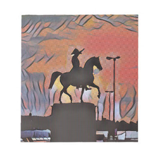 Artistic Soldier On Horse Sillouete Sunset. Notepad