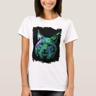 Artistic Space Lynx | Purple Green Galaxy T-Shirt