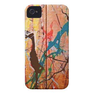 Artistic Splattered Paint on Wood iPhone 4 Covers