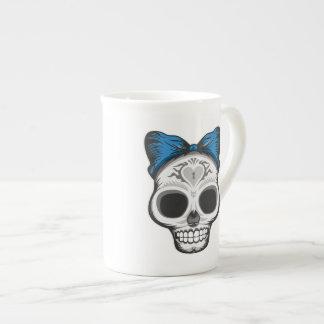 Artistic Sugar Skull (blue bow) Tea Cup