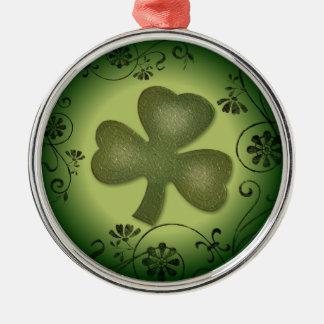 Artistic swirls shamrock design Silver-Colored round decoration