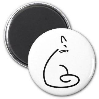 Artistic Swirly Cat Silhouette 6 Cm Round Magnet