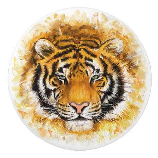 Artistic Tiger Face Ceramic Knob