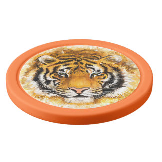 Artistic Tiger Face Clay Poker Chips
