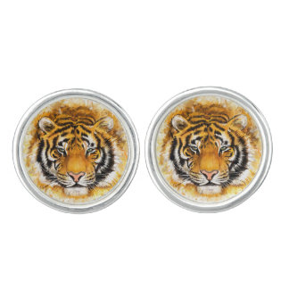 Artistic Tiger Face Cufflinks