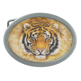 Artistic Tiger Face Oval Belt Buckle