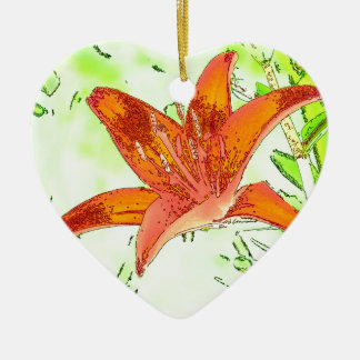 Artistic Tiger Lily Ceramic Ornament