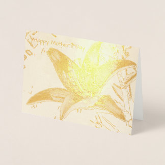 Artistic Tiger Lily Mothers Day Foil Card