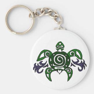 Artistic Tribal Turtle Original Art Basic Round Button Key Ring