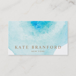 Abstract Blue Watercolor Business Cards Zazzle Au